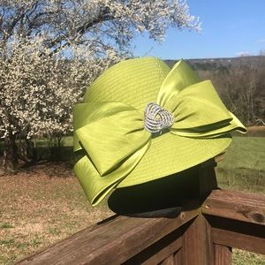 Dramatic lime green Derby hat